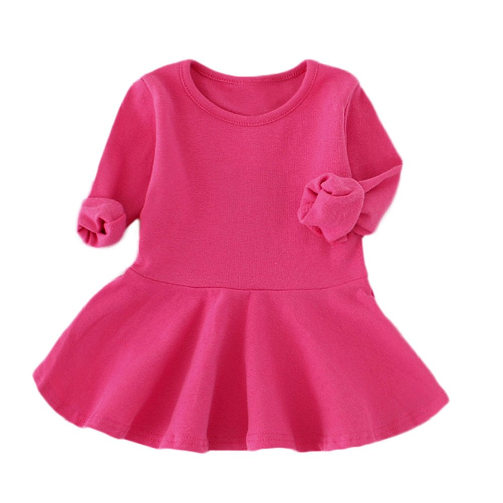 Dsood Girls Outfit,Baby Girls Candy Color Long Sleeve Solid Princess Casual Toddler Kids Dress,Baby Girls' One-Piece Rompers, 2019, Hot Pink