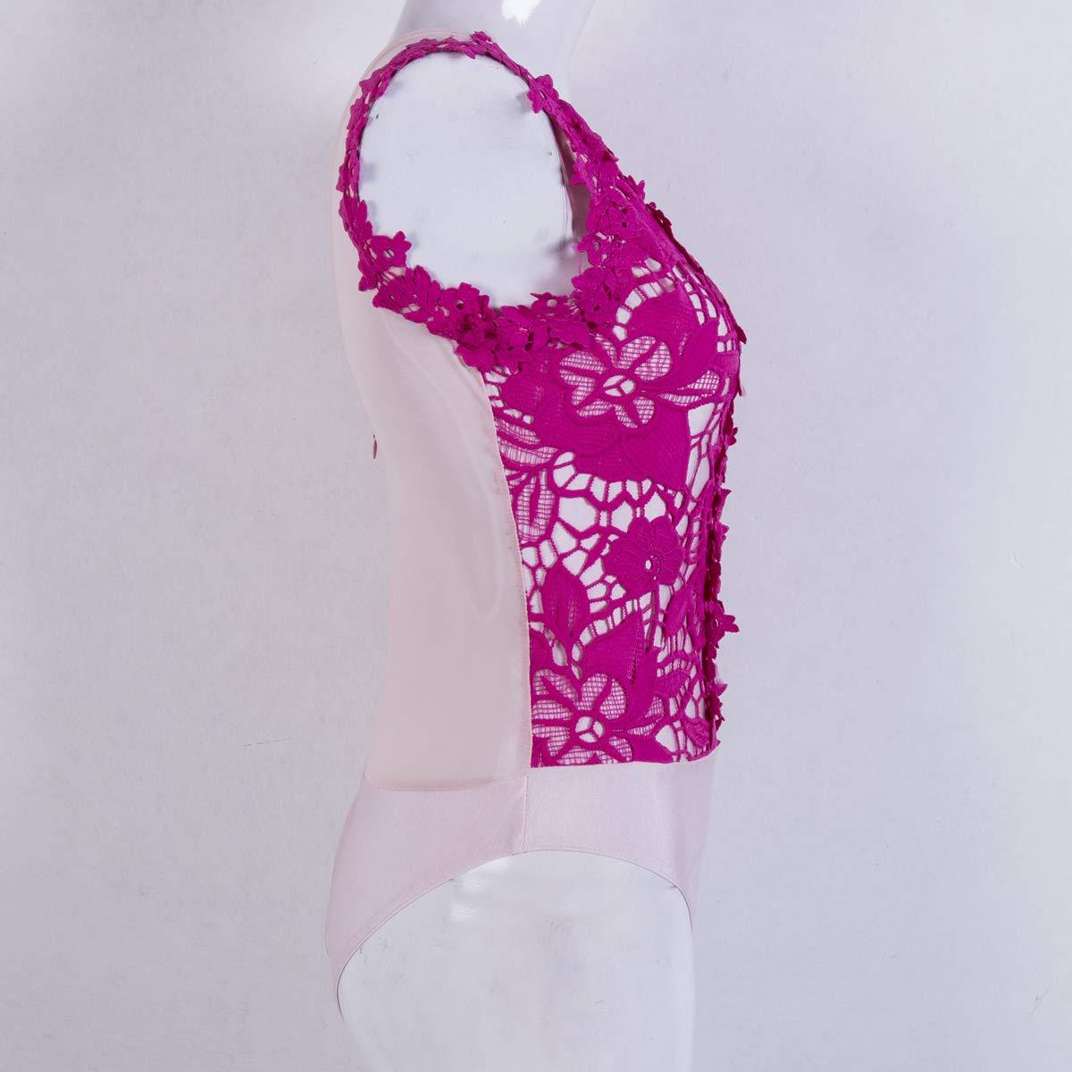 Small Size Loralie Damen Chic Spitze Bodysuit V-Ausschnitt Bodys Overall /Ärmellos Tops R/ückenfrei Oberteil