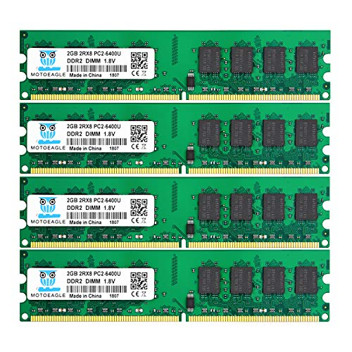 DDR2 PC2-6400 PC2-6400U 800MHz, Motoeagle DDR2-800 2RX8 240-Pin DIMM Desktop Memory 8GB Kit (4x2GB)