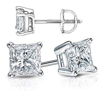 174d65d3f Amazon.com: Venetia Supreme Realistic Princess Cut NSCD Simulated Diamond  Solitaire Earrings Earstuds Screw Back Solid 925 SIlver Platinum Plated 1 2  Carats ...