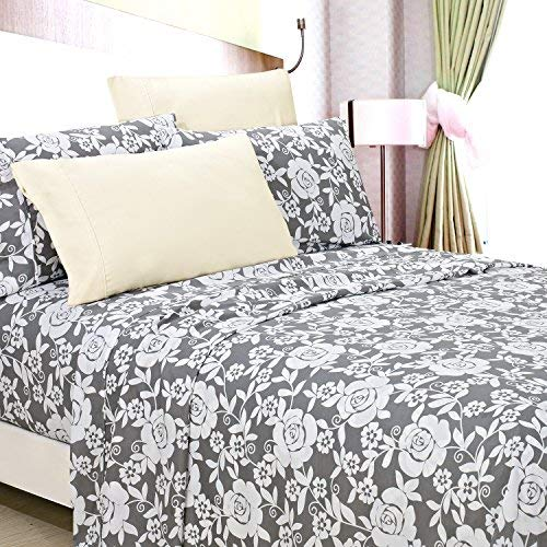 (American Home Collection Deluxe 6 Piece Printed Sheet Set Highest Quality Of Brushed Fabric, Deep Pocket Wrinkle Resistant - Hypoallergenic (Twin, Jayden Grey Floral))