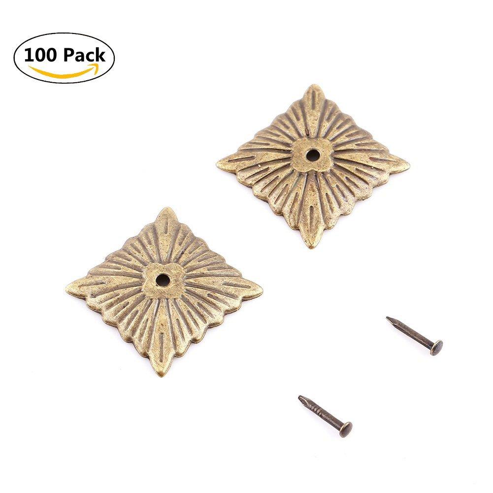Upholstery Nail Tack Stud, 100Pcs Metal Antique Upholstery Nails Tacks Strips Clavos Decorative Tack Pushpins Doornail for Wood Furniture Decor (Quartet Nailhead 21x21mm)