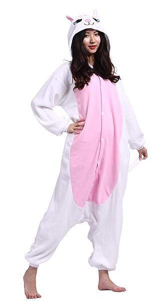 Wamvp Pijama Adulto Completo con Dibujos Animados Gato Blanco