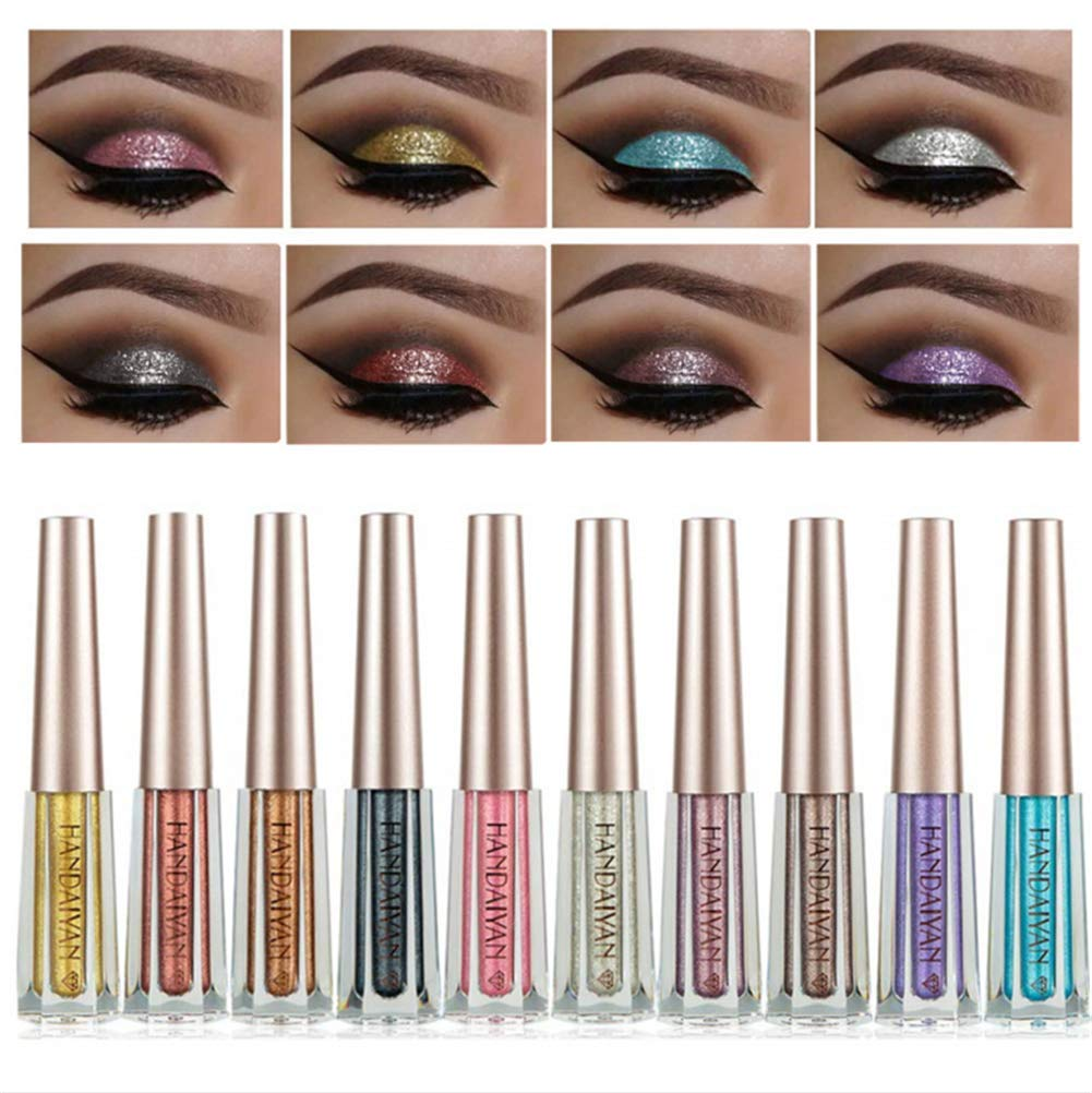 BONNIE CHOICE 10 Colors Glitter Liquid Eyeliner Set, Long Lasting Waterproof Sparkling Eyeliner Eye Shadow Metallic Glitter Eyeliner Pen Shimmer Eye Shadow for Parties, Cosplay, Masquerad by BONNIE CHOICE