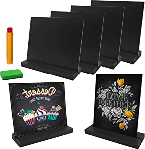 Mini Chalkboard Signs with Vintage Style Wood Base Stand Chalk Holder Eraser, Double-Sided Tabletop Chalkboards for Wedding Party Decorations, Kitchen, Table Numbers, Food Label, Place Cards, Set of 6