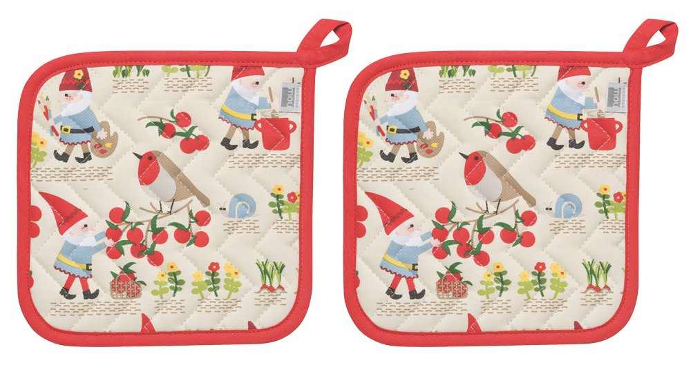 Now Designs Basic Potholder, Set of Two, Gnome Sweet Gnome by Now Designs