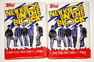 1989 - Topps - Big Step - New Kids On The Block - Vintage - Rare - Collector Card Pack - 8 Cards & 1 Sticker Per Pack - Red Cover - 2 Packs Per Set - Out of Production - Limited Edition - Collectible