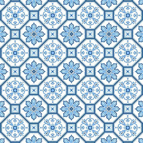 """Blue and White Tile Contact Paper Self Adhesive 17.7""""x118"""" Navy Flower Peel and Stick Wallpaper Removable Waterproof Paper for Kitchen Backsplash Bathroom Wall Shelf Drawer Liner Decor Vinyl Roll"""