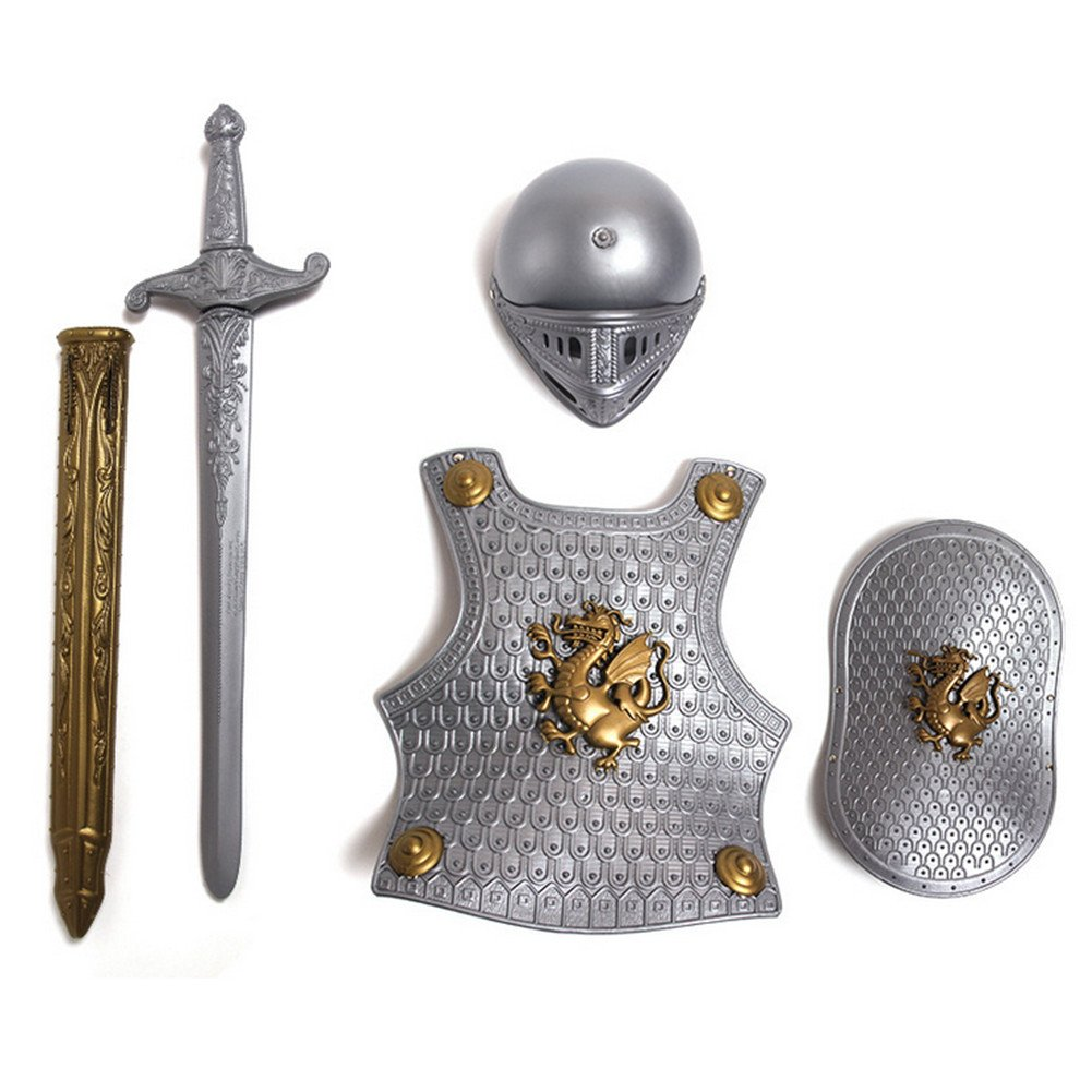 Per 4 Piece Suit Children Helmet and Armor Clothing for Imaginative Play - Helmet, Sword, Shield, Helmet and Armor Included, Suitable for 3-8Y Kids (SilverGragon)
