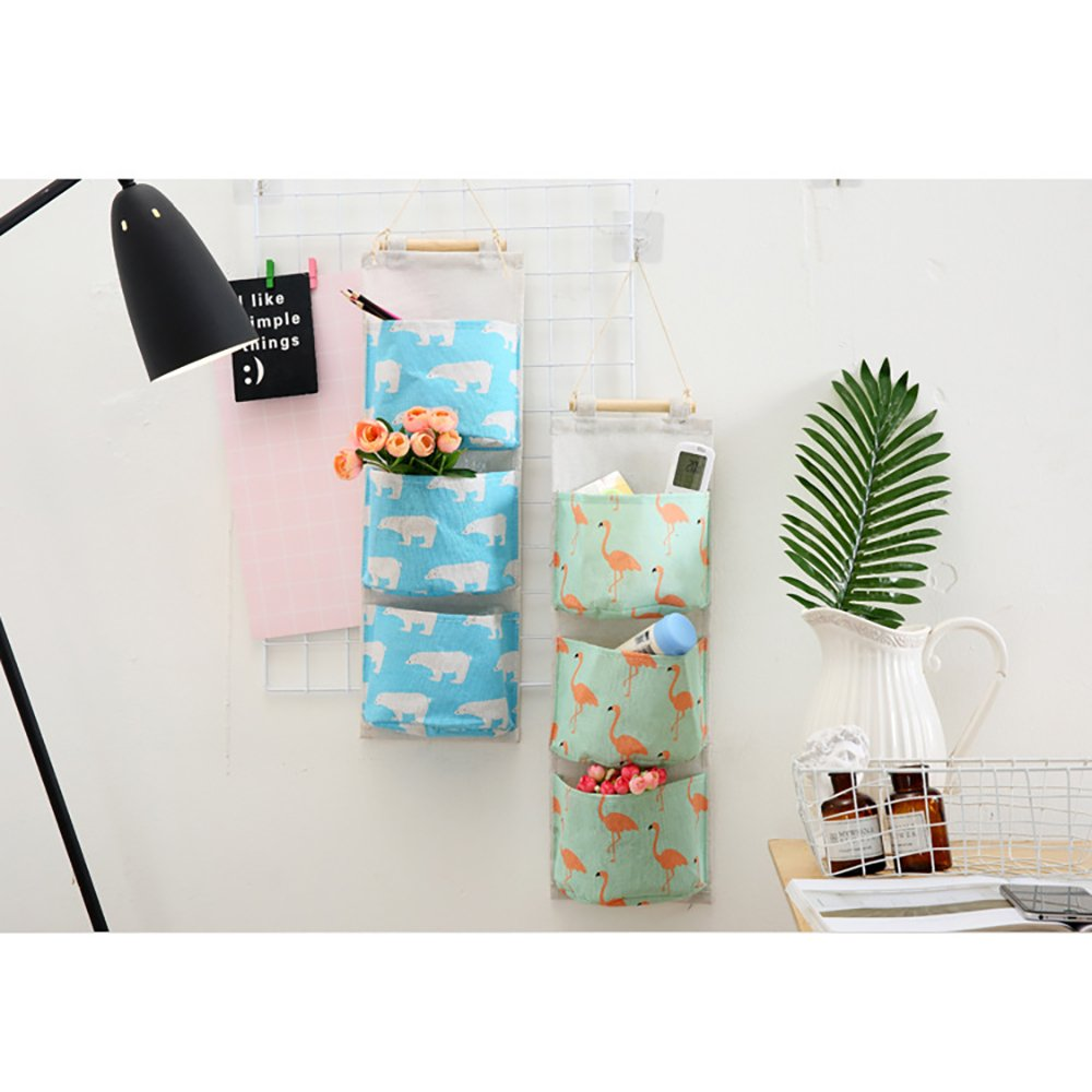Polar Bear,Blue Ouken Door Closet Organizer Wall Hanging Storage with 3 Pockets Bag for Bedroom Bathroom Blue