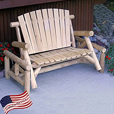 Lakeland Mills Classic White Cedar Log Outdoor Glider Loveseat