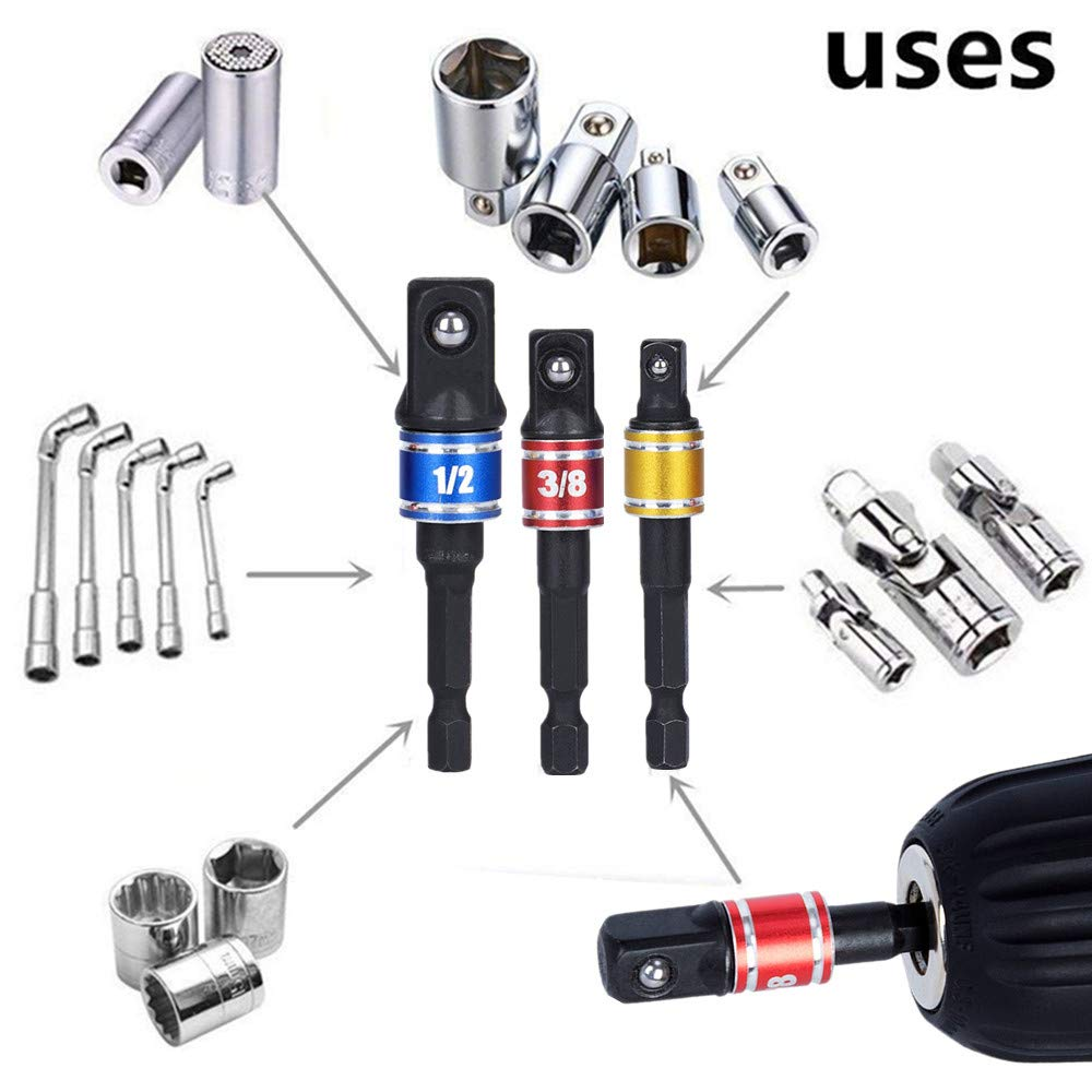 3Pcs 1//4 3//8 1//2 Cr-V Hex Shank Impact Grade Driver Socket Adapter//Extension Set Drill Bit with 105 Degree Right Angle Screwdriver set Drill Hex Bit Socket Adapter Drill Bits Set Power Hand Tools