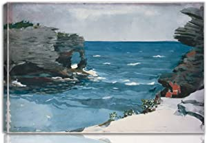 Winslow Homer Stretched Giclee Print On Canvas-Famous Paintings Fine Art Poster-Reproduction Wall Decor Ready to Hang(Rocky Shore Bermuda)#NK