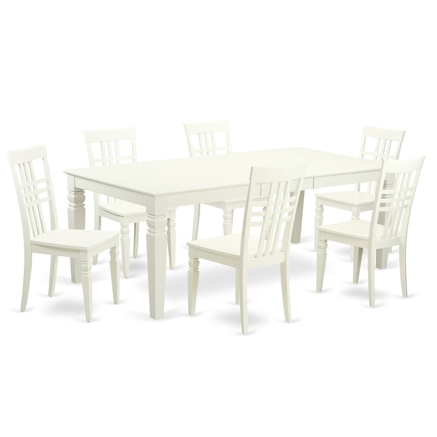 East West Furniture LGLG7-LWH-W 7Piece Table Set with One Logan ...