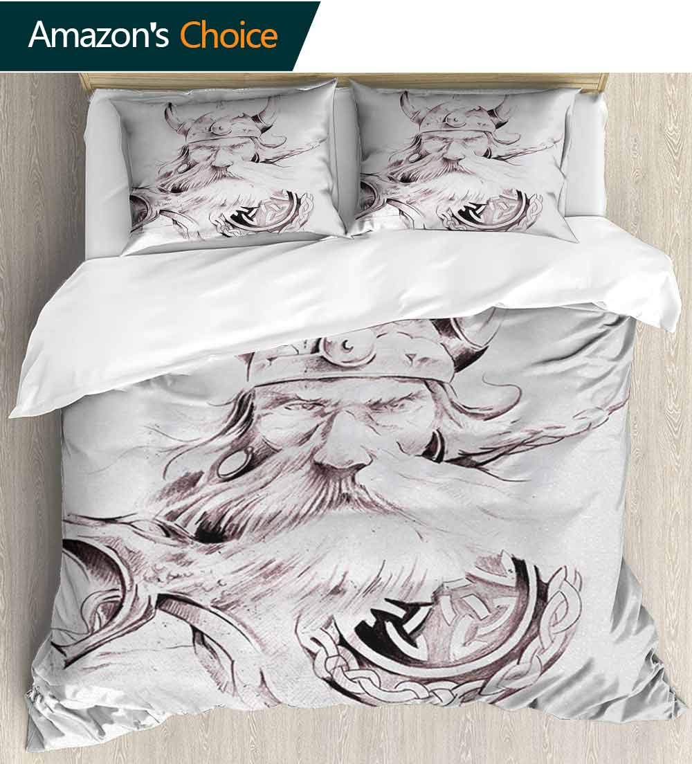 Tattoo 3 PCS King Size Comforter Set,Wise Old and Brave Viking Warrior with his Long White Beard and Armour Print Decorative 3 Piece Bedding Set with 2 Pillow Sham(104''W x 90''L) Dried Rose White