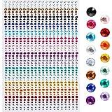 Faburo 900 Pièces Pierres Précieuses Adhésif Strass Cristal Autocollants, 3mm, 4mm, 5mm, Acrylique Coloré Strass Autocollant Pour l'artisanat