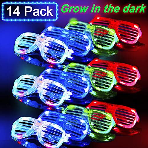 Joyork 2019 St. Patrick's Day Party Supplies Glow in The Dark LED Glasses Kids Party Favor Set Neon Light Up Shutter Shades Flashing Rave Glasses Bulk for Kids Adults Birthday (14pcs)
