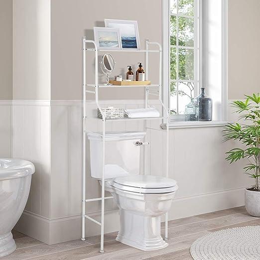 3 Tier Bathroom Shelf Over Toilet Organizer Shelf Space Saver Storage Cabinet Tower Toilet Shelf Organizer Stand Metal Frame Study Waterproof With 2