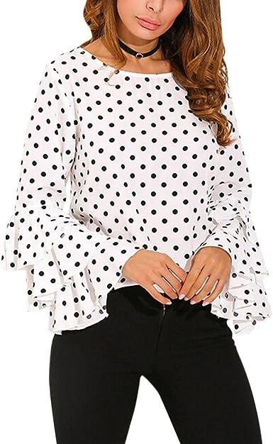 Camisa de Mujer Blusa de Mujer Sexy Moda Manga de Campana Suelto Casual Manga Larga Lunares Elegante Camisa de Gasa Tops Camiseta de Mujer LMMVP (XXL, Blanco): Amazon.es: Ropa y accesorios