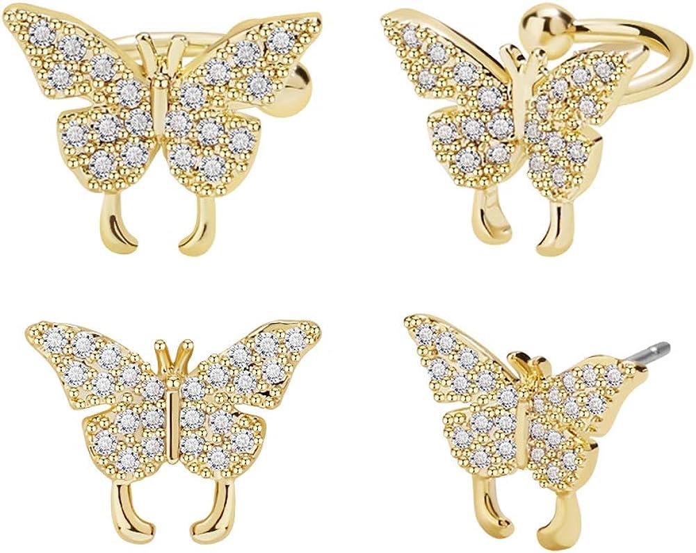 FAMARINE 2 Pairs Butterfly Stud Earrings for Women, Cubic Zirconia Cartlidge Cuff Earrings Lightweight | Hypoallergenic Earrings for Teengirls Gift