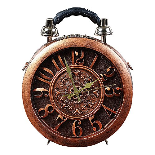 Fashion woman's Wooden Novelty alarm clock Process Shoulder bag Personalized handbag (brown) ()