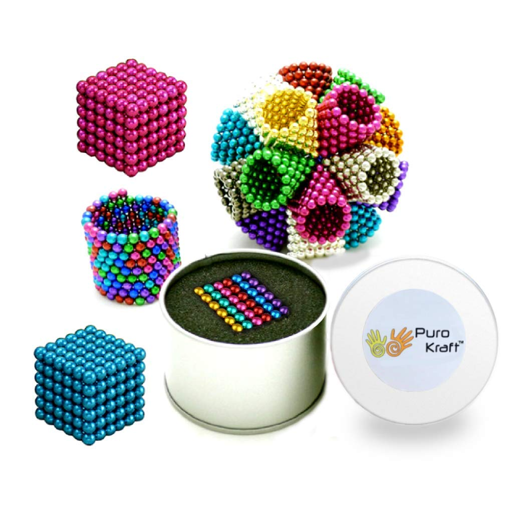 PuroKraft (TM) Multicolored 5MM Magnetic Balls Set for Stress Relief and Fidget| 216 pcs Mini Magnetic Balls for Kids and Adults | Tiny Magnets Balls for Natural Stress Relief by PuroKraft (Image #1)