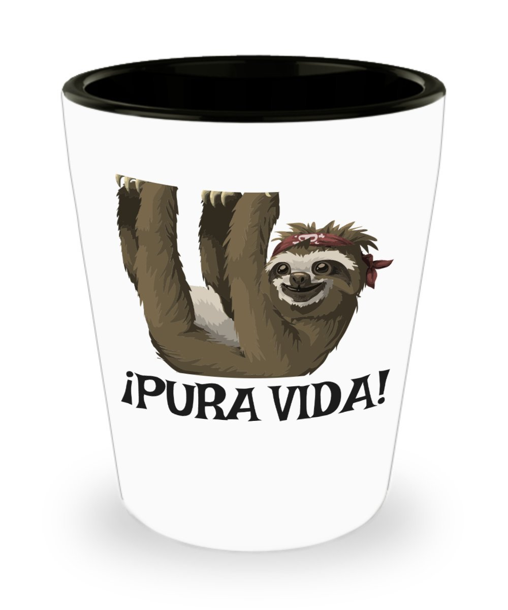 Vasos de chupito de perezoso - pura vida. Cerámica - Funny Sloth Regalos - Costa Rica recuerdos: Amazon.es: Hogar