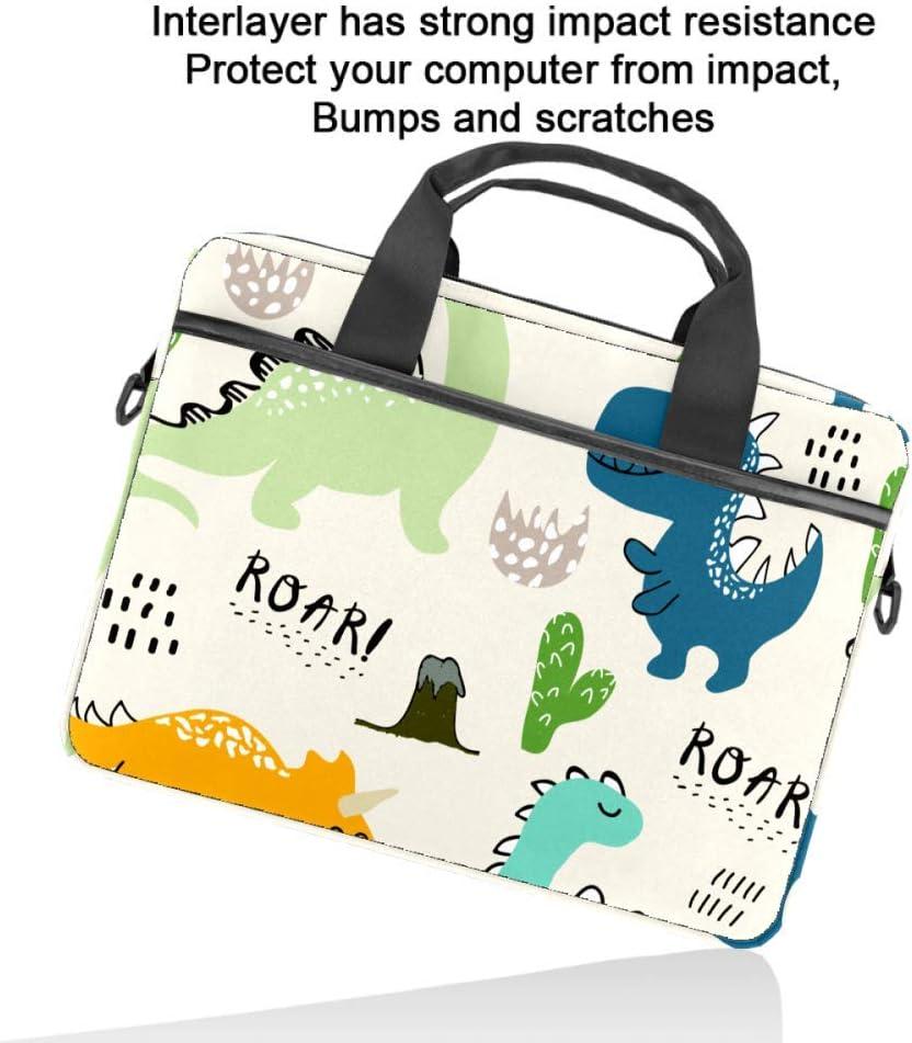 Childish DinosaurLaptop Case Canvas Pattern Briefcase Sleeve Laptop Shoulder Messenger Bag Case Sleeve for 13.4-14.5 inch Apple Laptop Briefcase