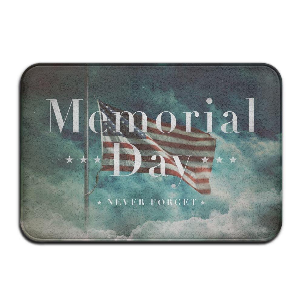 BINGO BAG Memorial Day Never Forget Indoor Outdoor Entrance Printed Rug Floor Mats Shoe Scraper Doormat For Bathroom, Kitchen, Balcony, Etc 16 X 24 Inch
