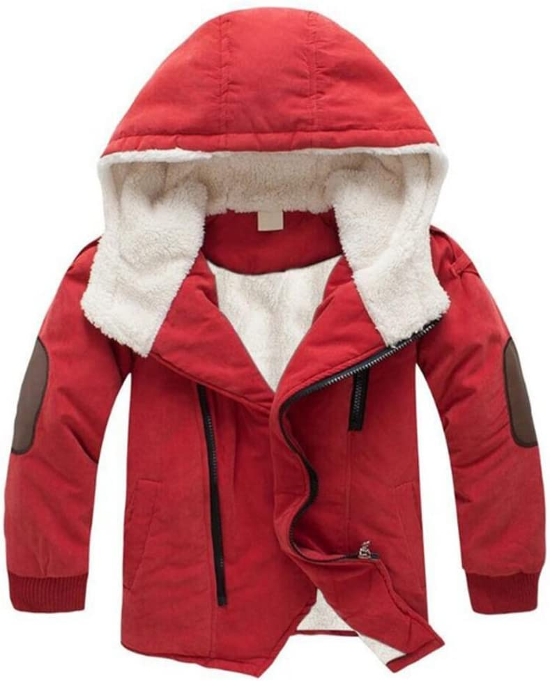 ACE SHOCK Boy's Thick Cotton Padded Parka Polar Fleece Lined Jacket Hooded Winter Coat 2-12 Years
