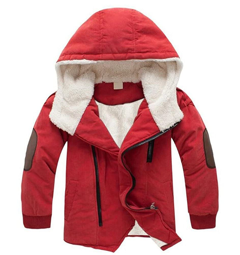 ACE SHOCK Boys Thick Cotton Padded Parka Polar Fleece Lined Jacket Hooded Winter Coat 2-12 Years