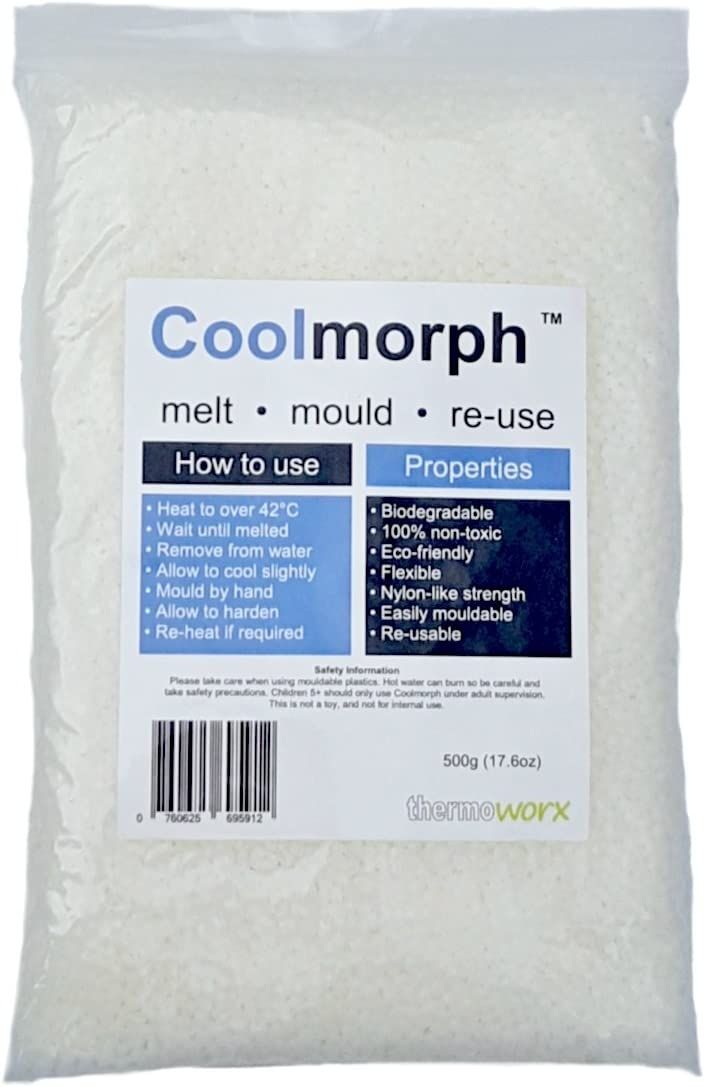 Thermoworx Coolmorph™ 500g | Lower melting point hand mouldable eco-friendly thermoplastic. Reusable unlimited uses - DIY, Crafts, Repairs, Moulds, Casting, Modelling, Grips, Prototypes. TOP QUALITY!