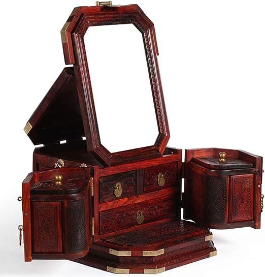 Laogg Caja Joyero Chino,Caja de joyeríacerradura Caoba China joyería Almacenamiento Caja Retro Madera Maciza Caja de joyería Muebles y Regalos orientales: Amazon.es: Hogar