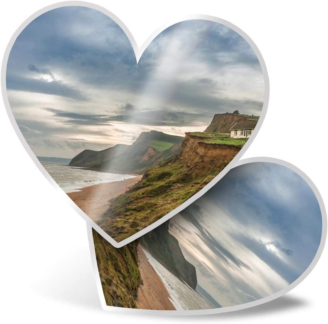Awesome 2 x Heart Stickers 7.5 cm - Burton Bradstock Dorset Beach UK Fun Decals for Laptops,Tablets,Luggage,Scrap Booking,Fridges,Cool Gift #16175