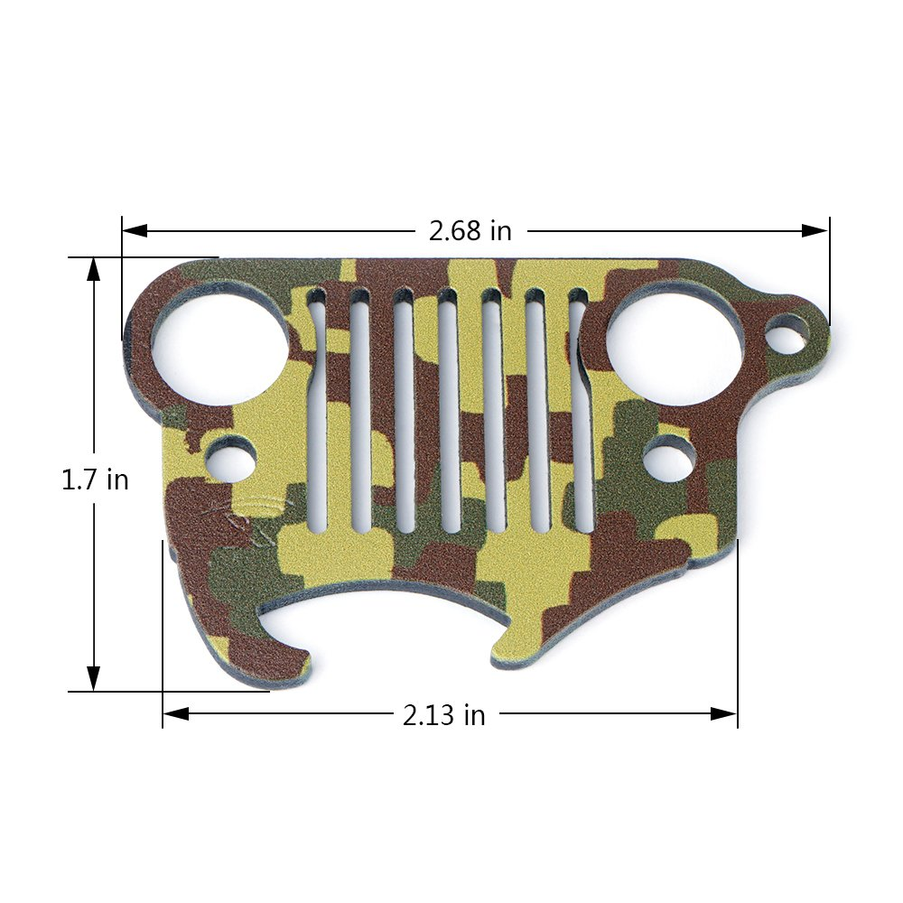 Xprite Green Camo Jeep Wrangler Grill Stainless Steel Keychain Bottle Opener