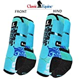 L- 4 PACK BLUE SCROLL CLASSIC EQUINE LEGACY SYSTEM HORSE FRONT REAR SPORT BOOT