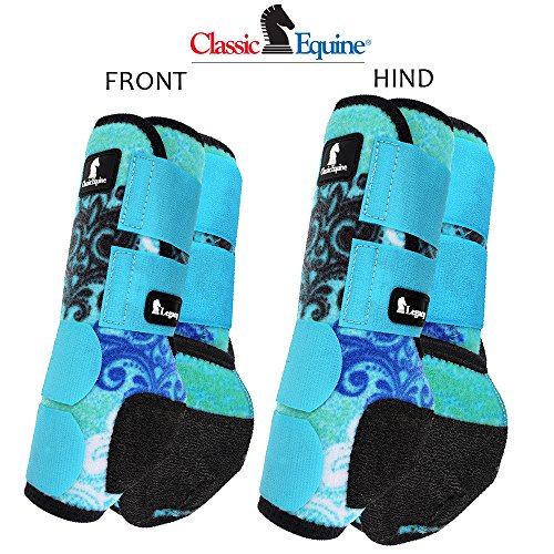 L- 4 PACK BLUE SCROLL CLASSIC EQUINE LEGACY SYSTEM HORSE FRONT REAR SPORT BOOT by Classic Equine