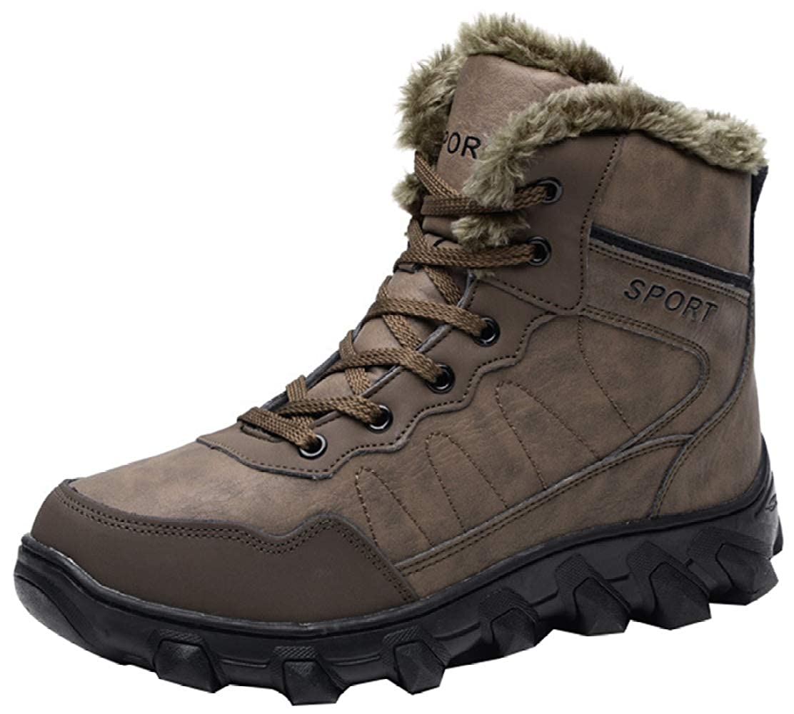 Brown Men's Leather High-top Outdoor Hiking shoes Non-slip Warm Lining Snow Boots