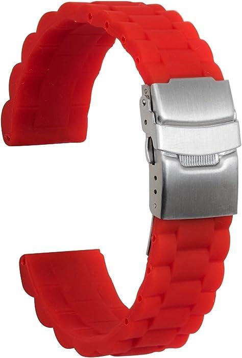 Ullchro Correa Reloj Calidad Alta Recambios Correa Relojes Caucho Link Pattern - 16mm, 18mm, 20mm, 22mm, 24mm Silicona Correa Reloj con Acero ...