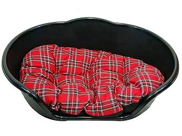 Cama para perro plástico negro con cojín de color rojo de cuadros escoceses/extra Large Heavy Duty Pet - Cama de Perro/Gato/Animal/Sleep/cesta: Amazon.es: ...