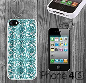 Damask on Newspaper Custom made Case/Cover/skin FOR iPhone 4/4s - White - Rubber Case ( Ship From CA) by runtopwell