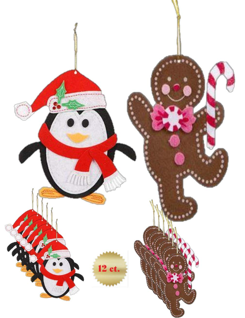 GBBD Christmas Felt Craft Kits - Home Made Tree Ornaments ( 12 Total )