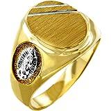 Size 8.75 Solid 14k Rose Gold Engravable Rectangular Frame Face Signet Ring for Men