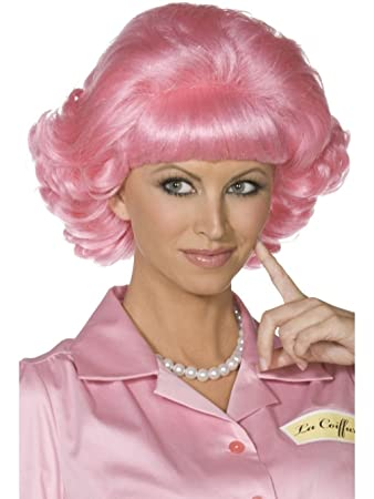 Uwant Fashion Frenchy Pink Wig Grease 50S Ladies Womens Fancy Dress Costume 1950S  Wigs  Amazon.co.uk  Toys   Games 793e4a2cc4