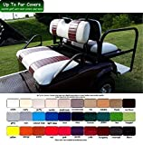 E-Z-Go TXT Custom Golf Cart Front Seat Cover Set PLUS Rear Seat Cover Set Combo - TWO STRIPE STAPLE ON
