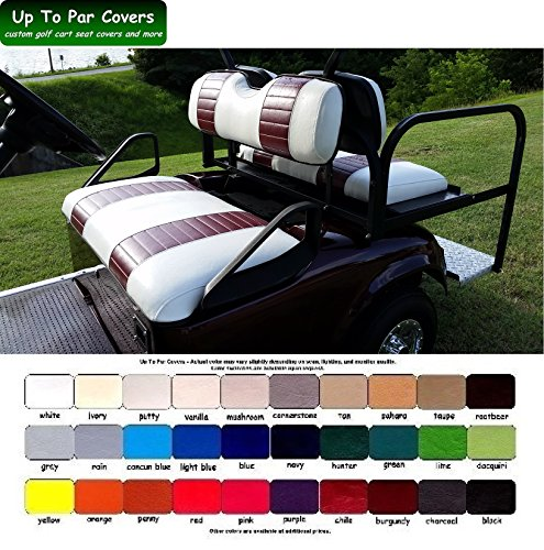 E-Z-Go TXT Custom Golf Cart Front Seat Cover Set PLUS Rear Seat Cover Set Combo - TWO STRIPE