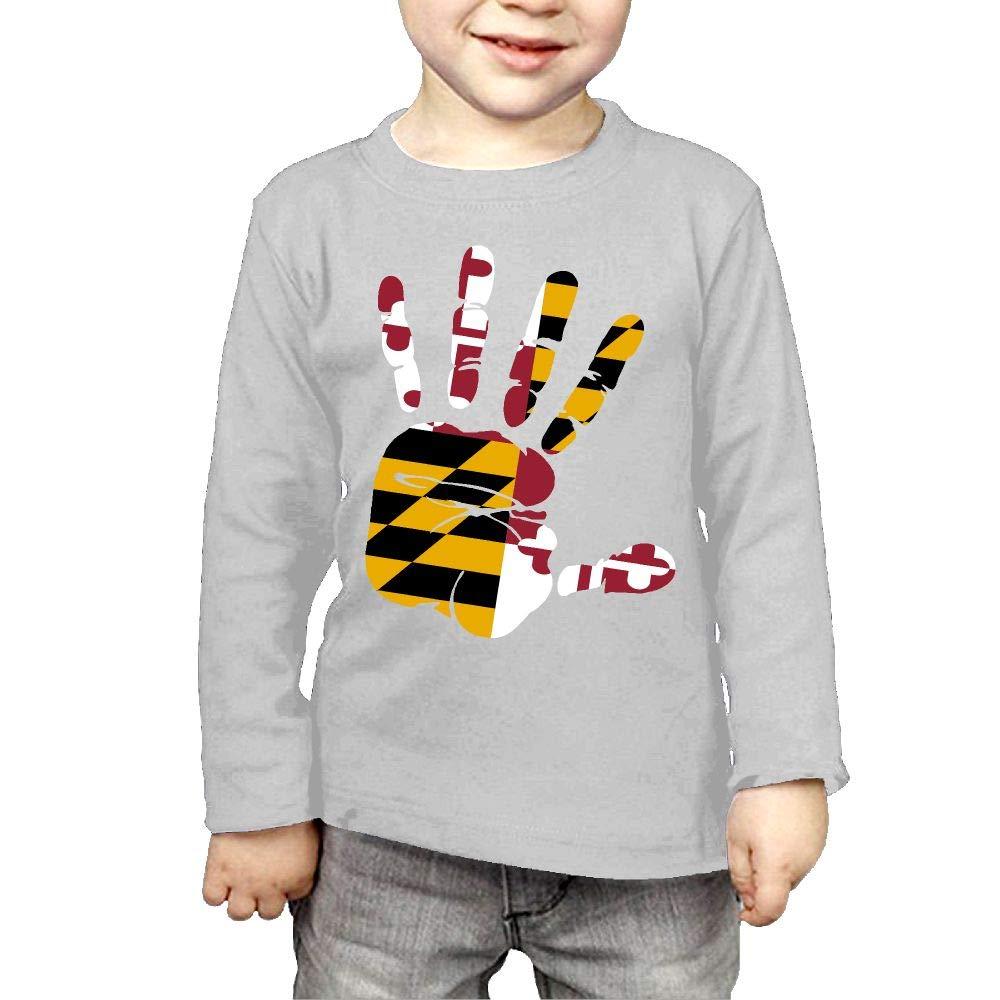 Fryhyu8 Baby Girls Kids Handprint Flag of Maryland Printed Long Sleeve 100/% Cotton Infants T-Shirts