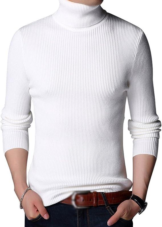 Pulls Basique Homme Hiver Hommes Mince Tricot /Épaississement Chaud Pull Col Roul/éc Pulls Sweatshirt Col Haut Chandails Unie Jumper Manches Longues Casual Sweatshirt Slim Fit Top Casual Mode T-Shirt