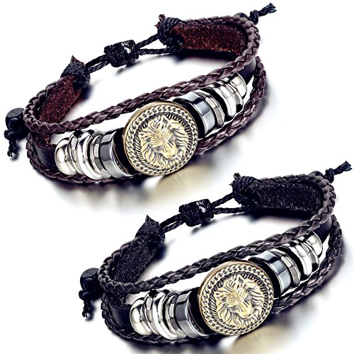 Flongo Leather Bracelet Braided Adjustable