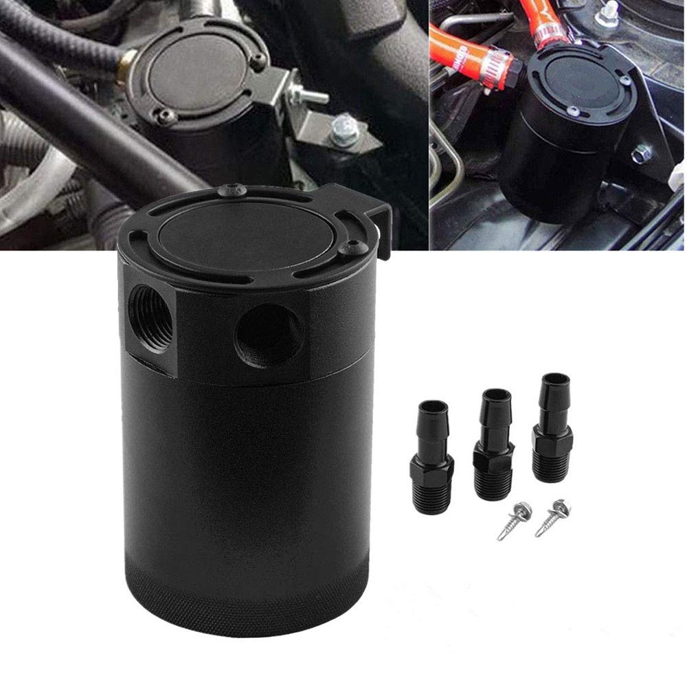 Sporacingrts Compact Black Baffled 3-Port Oil Catch Can 2 Inlets 1 Outlet Black by Sporacingrts (Image #1)
